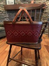 Vintage Redman woven wicker picnic basket