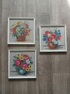 Cottage 3 Flowers Framed Shabby Chic Retro Vintage Embroidery Tapestry Pictures