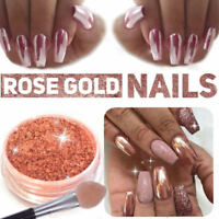 New ROSE GOLD NAILS POWDER Mirror Chrome Effect Pigment Nail Art Supplies