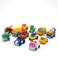 12pcs Robo Car Toy Vehicle Pull Back Car Action Figure Model Child kids Gift