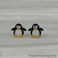 Penguin Post Earrings - 925 Sterling Silver - Arctic Bird Earring Studs NEW
