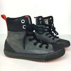 Converse All Star Asphalt Boots Kids Youth Size 1 Gray Leather 654314C