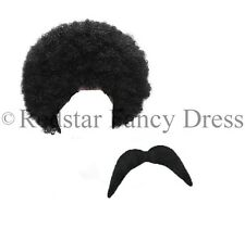 SCOUSER WIG AND STICK ON TASH FANCY DRESS NOVELTY 1980 80S ACCESSORY