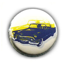 Badge RETRO OLD CAR Bleu/BLANC voiture auto rockabilly custom culte button Ø25mm