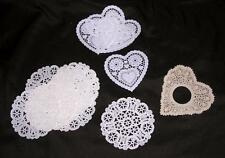 16 VTG SMALL PAPER LACE DOILIES - ROUND & HEARTS, GRT FOR CRAFTS, CARD MAKING