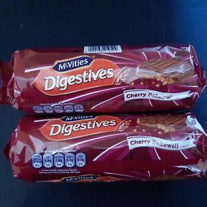 McVities Chocolate Digestives Cherry Bakewell 2 x 250g NEW SHIPS WORLDWIDE