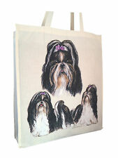 Shih Tzu Group Cotton Shopping Bag Tote with Gusset & Long Handles Perfect Gift