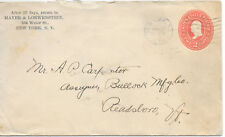 U.S.A. EMBOSSED TRADE COVER 14/7/1902 NEW YORK - READSBORO Vt. GREAT MARKS.