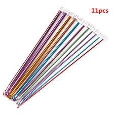 "11pcs 10.6"" Aluminum TUNISIAN AFGHAN Crochet Hook Knit Needles Set 2-8mm"