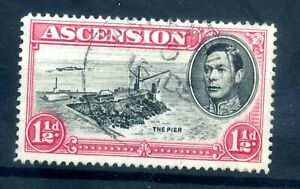 Ascension 1938-53 1½d p14 CUT MAST and RAILINGS flaw fine used SG 40db