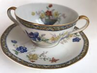 2 pc Set Theodore Haviland Limoges Ganga Soup Bouillon Cup Saucer~Floral Basket