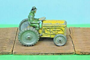 Vintage Benbros Qualitoys Ferguson Tractor Yellow (Type 1) & Green Woman Driver