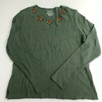 Westbound Knit Tee Top Women's M Green Beaded Holly Leaves Long Sleeve Cotton
