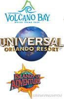 SAVE ON 4 UNIVERSAL STUDIOS ORLANDO 3 PARK 3 DAY PK TO PK TICKETS W/ VOLCANO BAY