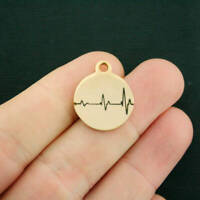 Heart Beat Stainless Steel Charm - Hypoallergenic Gold Plated -BFS3021GOLD