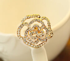 18K Rose Gold GF Women's Big Crystal Flower Wedding Engagement Ring Stunning