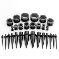 28pcs Black Steel Tunnel Punk Ear Gauge TAPER PLUG Stretching Kit Body Piercing