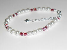"""SILVER PLATE RED BICONE WHITE GLASS BEAD CHARM BRACELET 7.5""""+ EXTENDER !!"""
