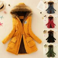 Women Ladies Warm Coat Fur Collar Hooded Jacket Thick Winter Parka Outwear Coats