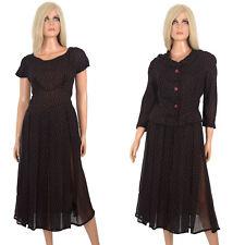 Vintage 50s SHEER BLACK DRESS Red Foulard Pattern w Jacket Knee Length - FLAWS
