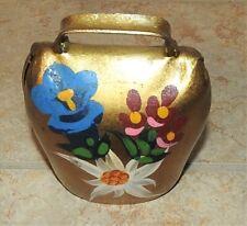 Vintage Swiss Alpine Brass Cow Bell hand Painted Flowers w Sliding Clapper Evc