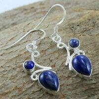 Lapis Lazuli Gemstone Ethnic Dangle Earrings 925 Sterling Silver Jewelry