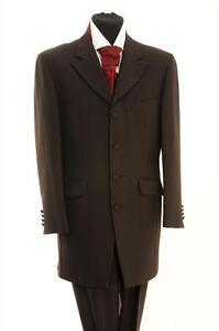 "BROWN PRINCE EDWARD EX HIRE LARGE 42"" CHEST WEDDING 3/4 TEDDY BOY DRAPE JACKET."