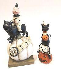 Set of 2 Poly Resin Halloween Kitty Cat Table Top Decor Fall Halloween Figurines