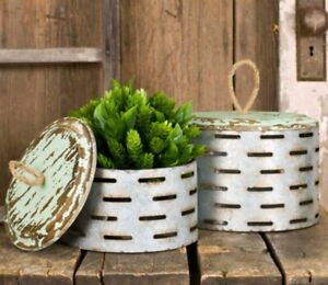 NEW!! Rustic Country SET of Round Perforated Metal Boxes with Wood Lids
