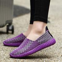 Womens Slip on Walking Shoes Woven Elastic Flat Lightweight Fashion Sneakers US