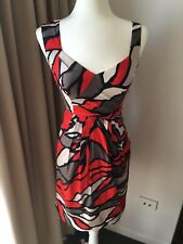 JACQUI E Sz 6 Red/Beige/Black Cotton Pencil Dress Career Cocktail Geometric EUC