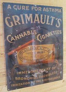 Vintage Grimaults cannabis cigarettes cure for asthma steel sign reproduction