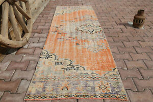 2.7x8.8 Turkish Faded Orange Neutral Runner Rug, Demirci Rug