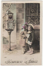 Girls With Letters In Front Of A Mail Box Original Antique Photo Postcard