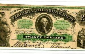 "$20 ""VIRGINIA TREASURY"" 1800'S (CRISPY) $20 ""VIRGINIA TREASURY"" CRISPY!! BEAUTY!"