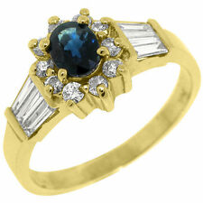 Solitaire with Accents Sapphire Yellow Gold 14k Fine Rings