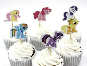 24 PCS MY LITTLE PONY CUPCAKE TOPPERS / PARTY SUPPLIES/ BIRTHDAY KIDS