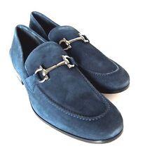 S-1067231 New Salvatore Ferragamo Tapas Blue Gray Buc Suede Loafer Size US 7.5EE