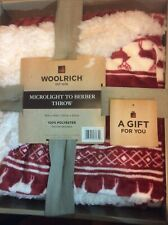 "NIB Woolrich Red Deer Reindeer Microlight to Berber Fleece Throw Blanket 50""x60"""