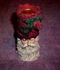 "Old World Santa Claus Saint Nicholas Taper Candle Holder Metal Insert 4 3/4"" Tal"