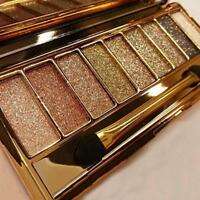 9 Colors Gold Shimmer Eyeshadow Eye Shadow Palette & Makeup Cosmetic Brush Set