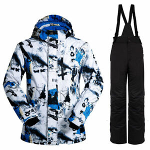 Mens Outdoor Waterproof Ski Snow Jacket + Pants Snowboard Bibs Snowsuit Suits Sz