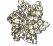 Vintage 1950s Rhinestone Large Brooch Prong Set and Silver Tone Baguettes Rounds