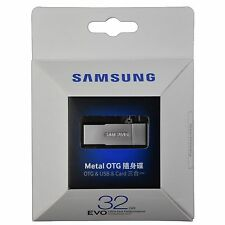 Original Samsung Micro SDHC 32GB EVO Memory Card Metal OTG Reader - silver