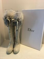 Authentic New Christian Dior Fox Fur Courchevel Boots Size 9/10