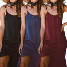 Women Summer Long Midi Sundress Sleeveless Slip Satin Club Party Plus Size Dress