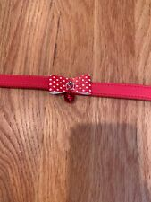 Size Small Red PU Leather Dog Collar Bow D Ring Alloy Buckle Adjustable Cute!