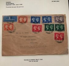 1940 Barnsley England Airmail Cover To Adelaide Australia Coronation Stamps