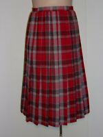 Koret Womens Size 8 Red/Gray Vintage Plaid Pleated Skirt