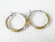 Estate 14k Yellow & White Gold 2mm Smooth Hoop Ladies Earrings
